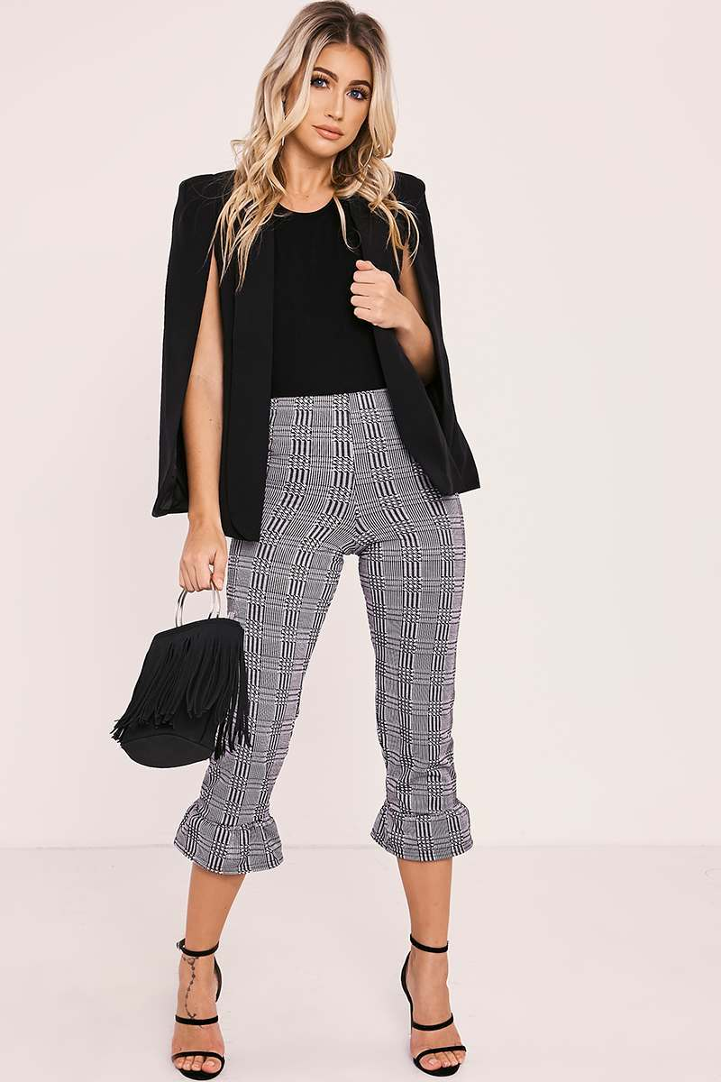 grey checked frilled hem cropped trousers