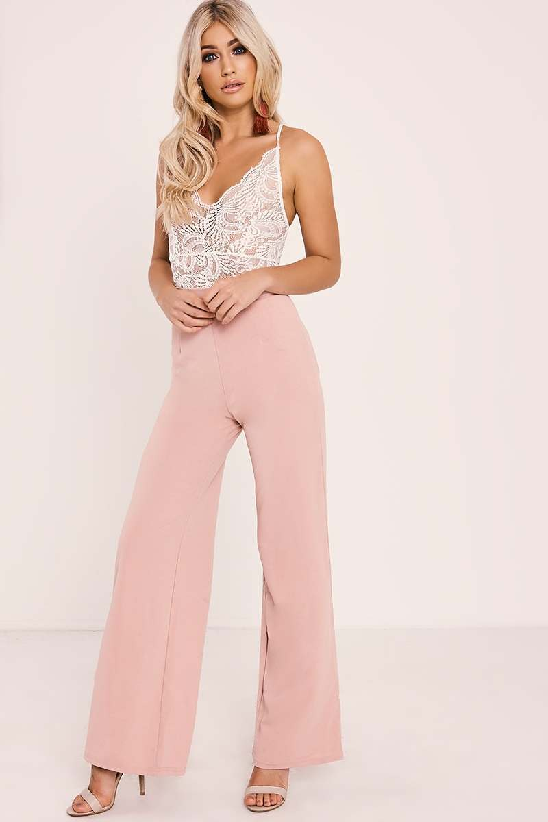 LIZEBETH PINK WIDE LEG TROUSERS