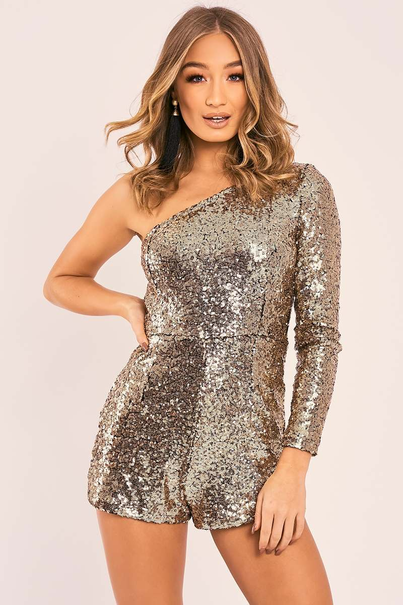 SKYLA GOLD SEQUIN ONE SHOULDER PLAYSUIT