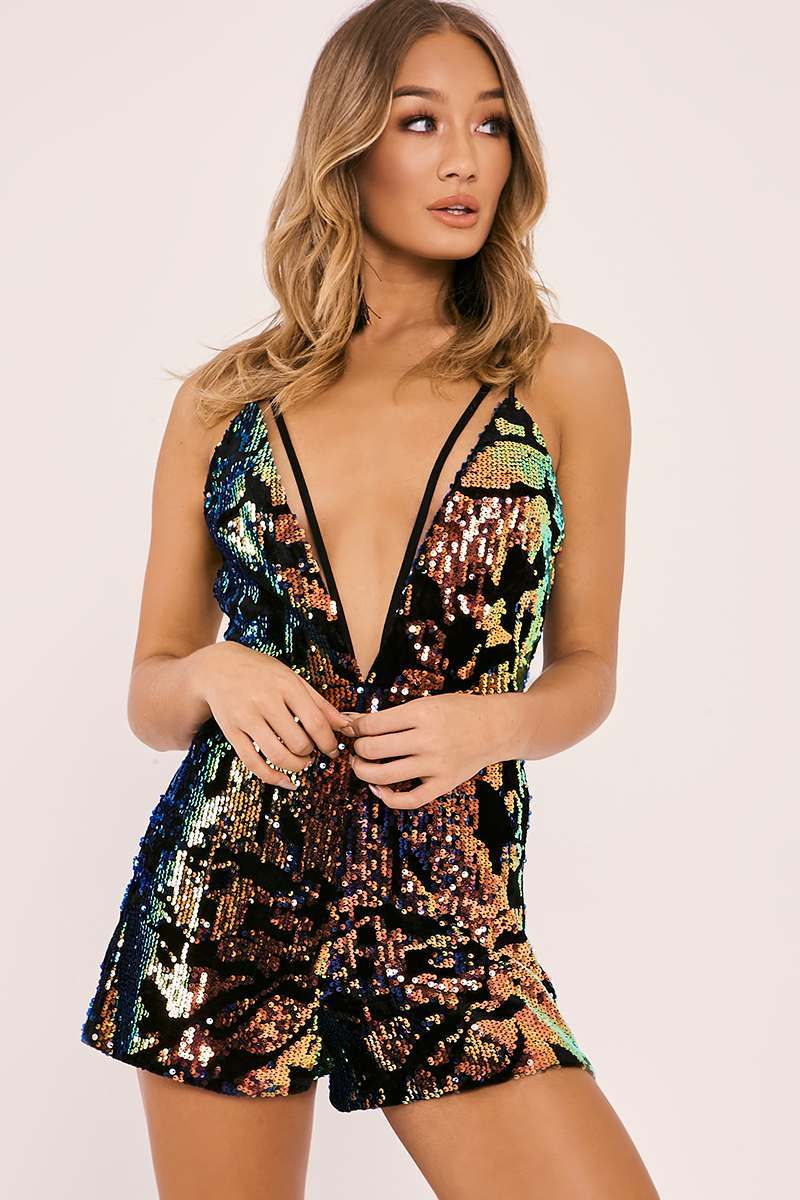 PORTIA BLACK VELVET SEQUIN HARNESS PLAYSUIT