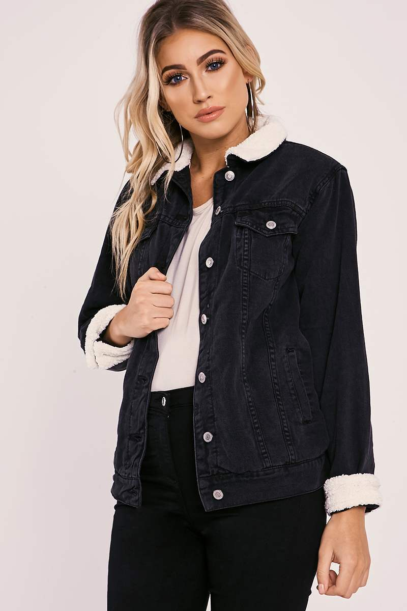 ADIBA BLACK OVERSIZED SHEARLING DENIM JACKET