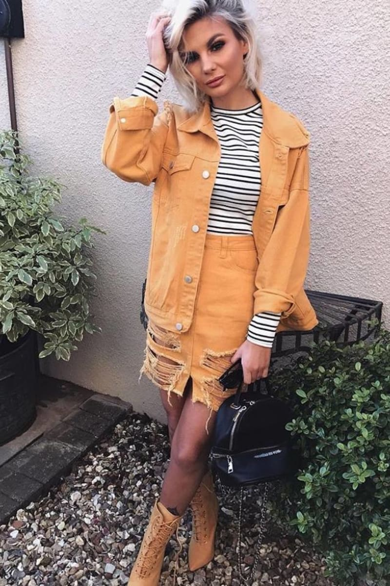 mustard oversized distressed denim jacket
