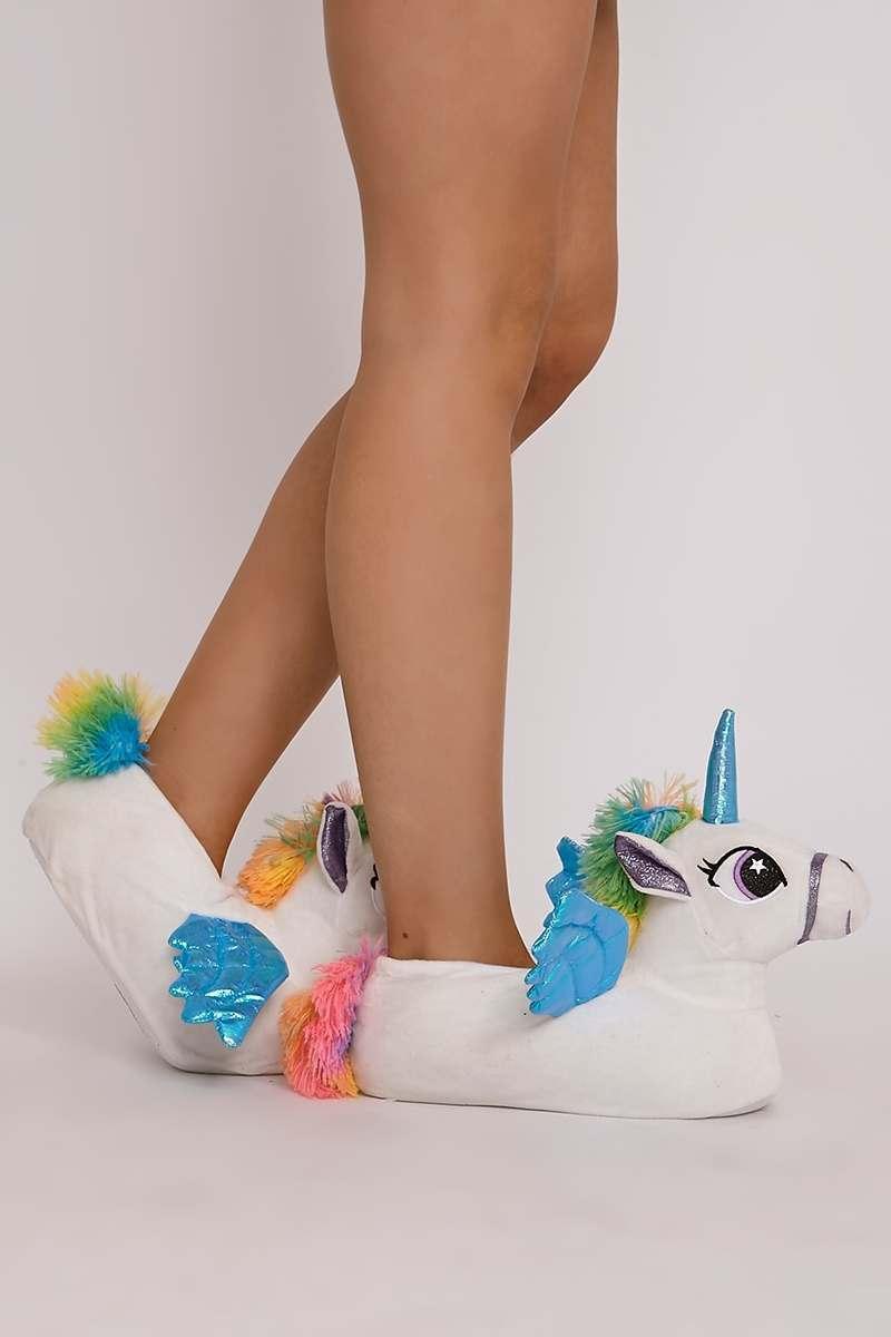 multi colour 3d unicorn slippers