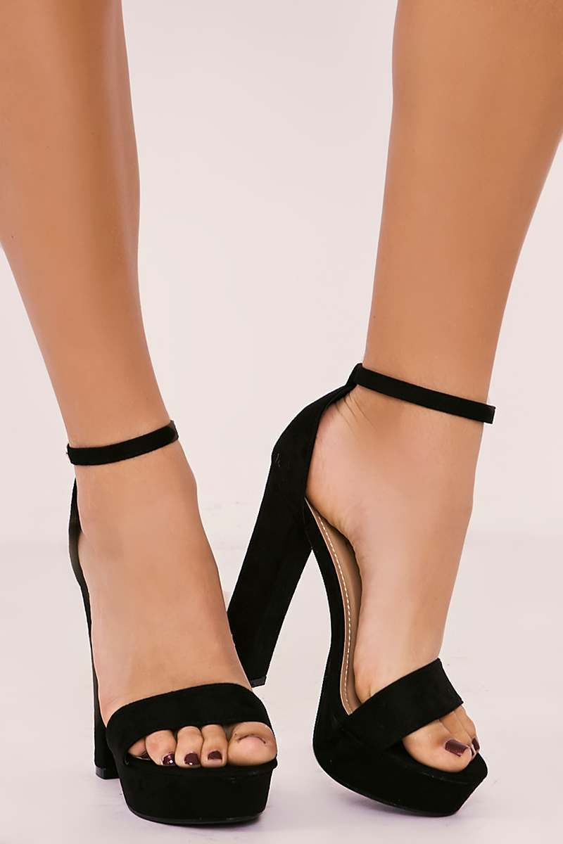 black faux suede platform barely there heels
