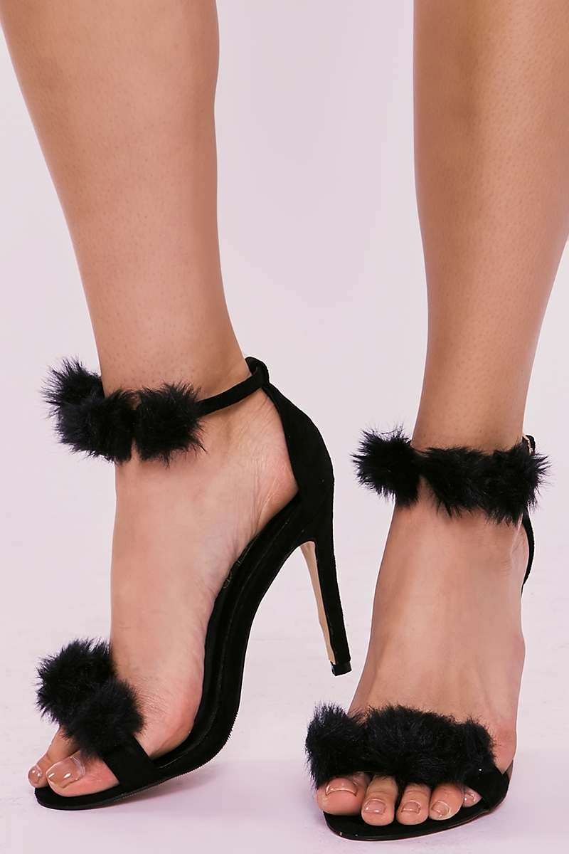SAGE BLACK FAUX FUR POM POM BARELY THERE HEELS