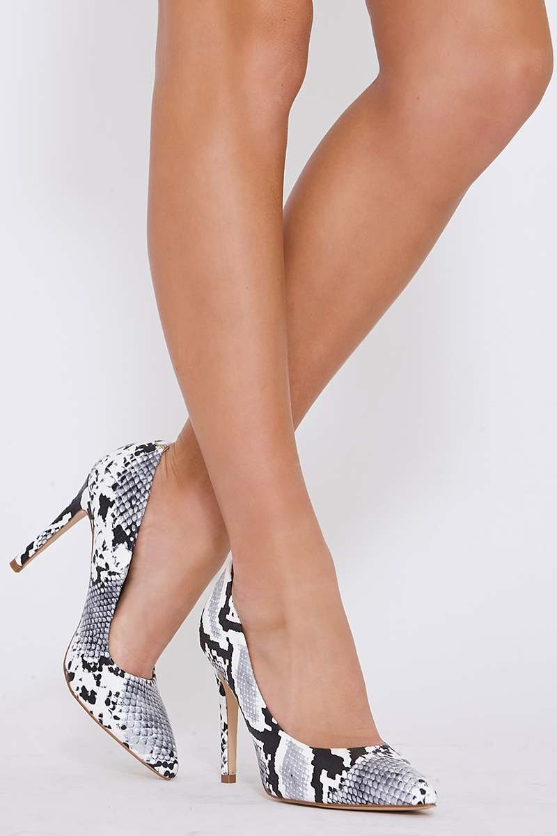 grey snake print court shoes