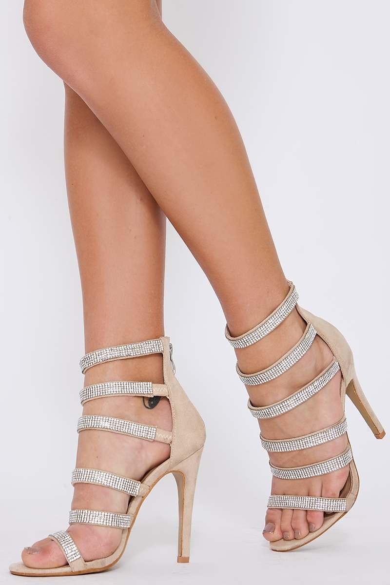 nude diamante multistrap heels