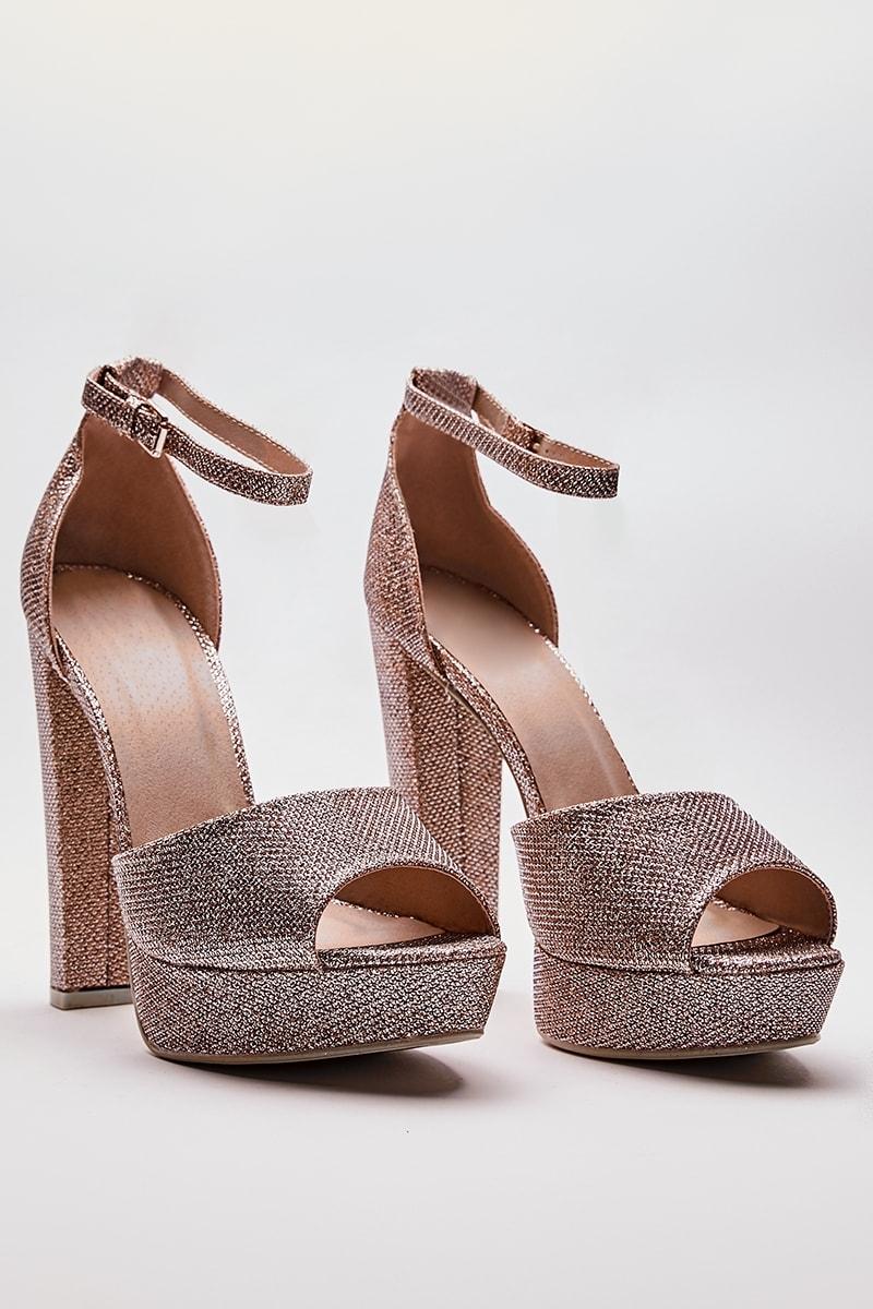 rose gold mesh platform heels