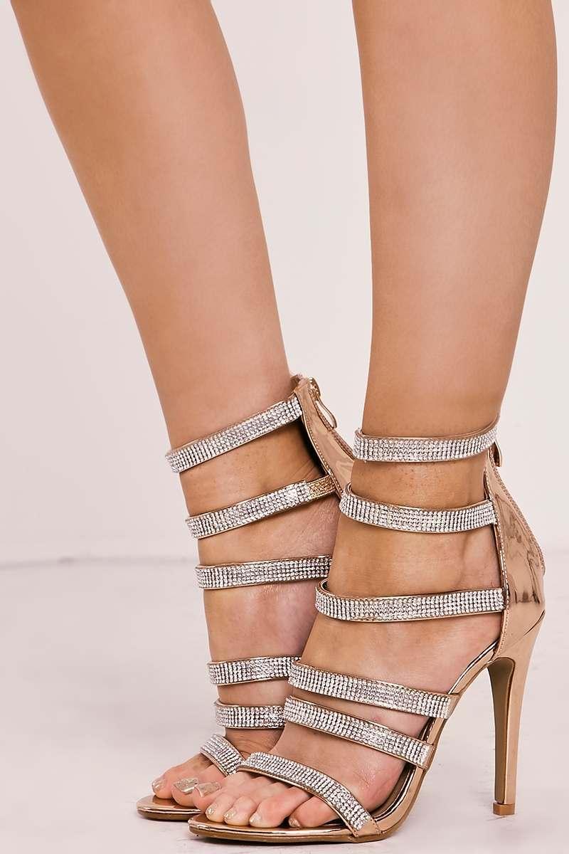 rose gold diamante multistrap heels