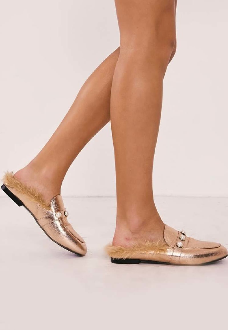 rose gold pearl detail faux fur backless loafer