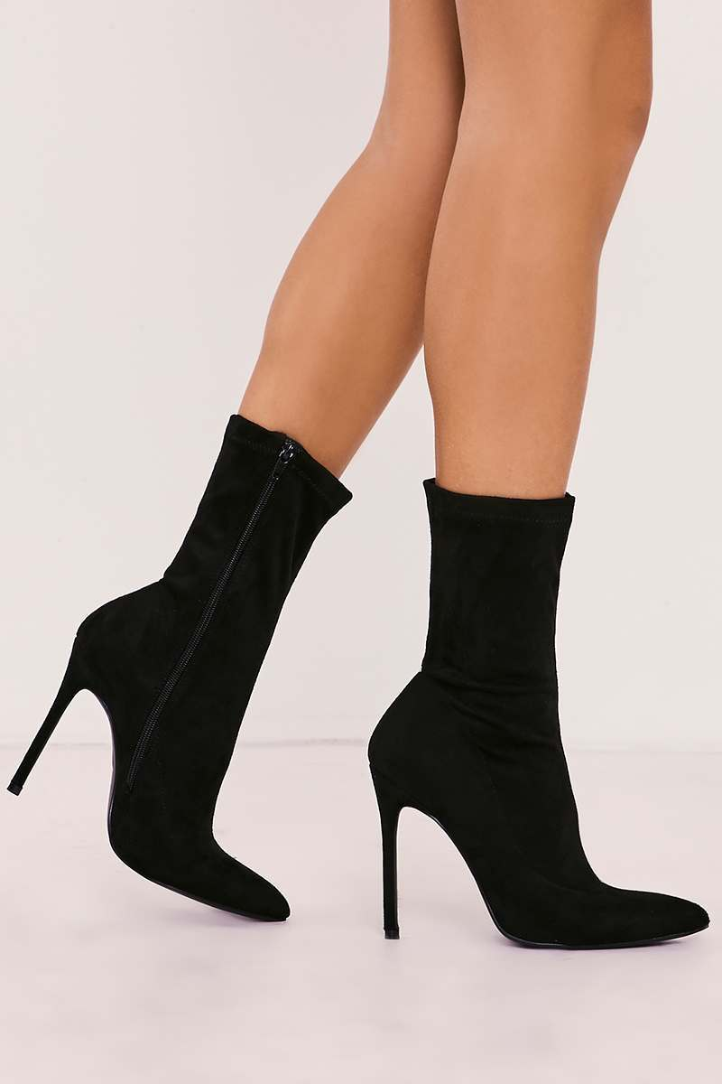 black faux suede sock heeled boots