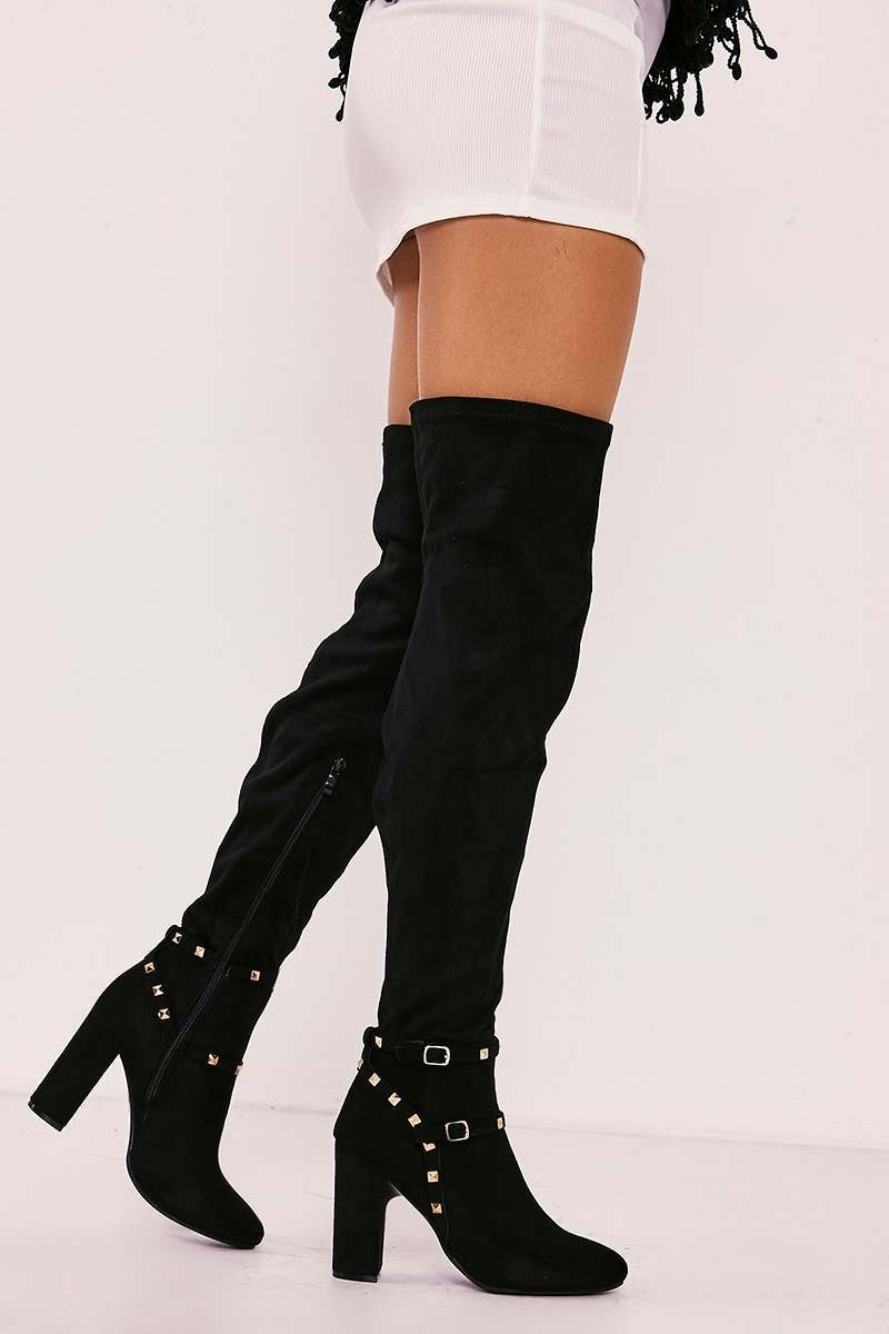 black faux suede studded over the knee boots