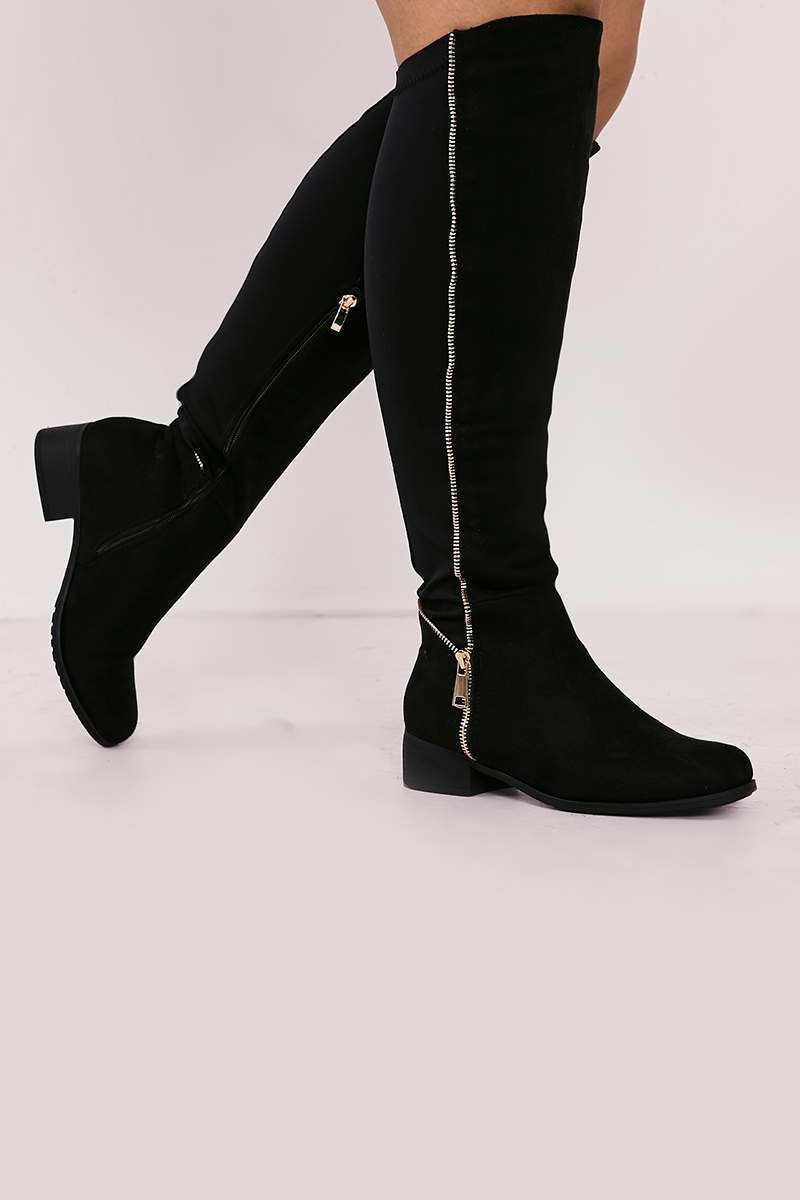 WIDE FIT SARALEIGH BLACK FAUX SUEDE KNEE HIGH BOOTS