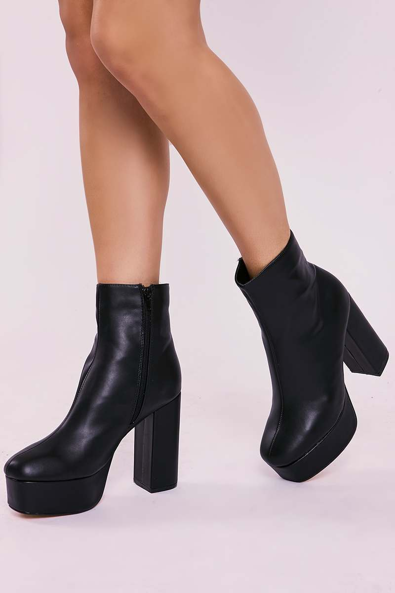 black faux leather platform heeled ankle boots