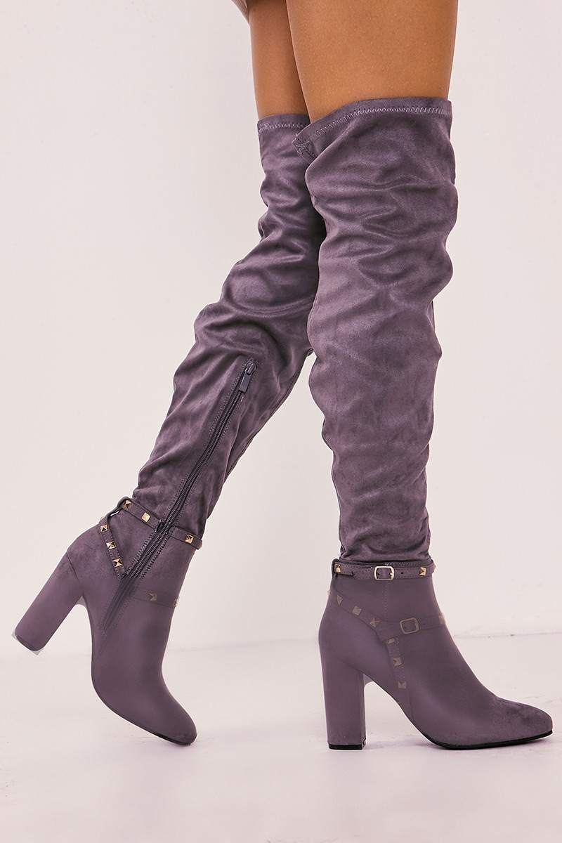 TAYNA GREY FAUX SUEDE STUDDED OVER THE KNEE BOOTS