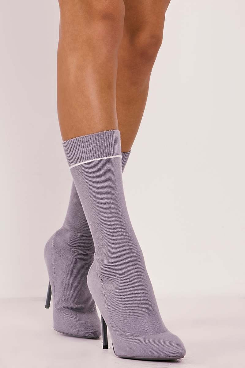 grey knitted stripe pointed ankle boots