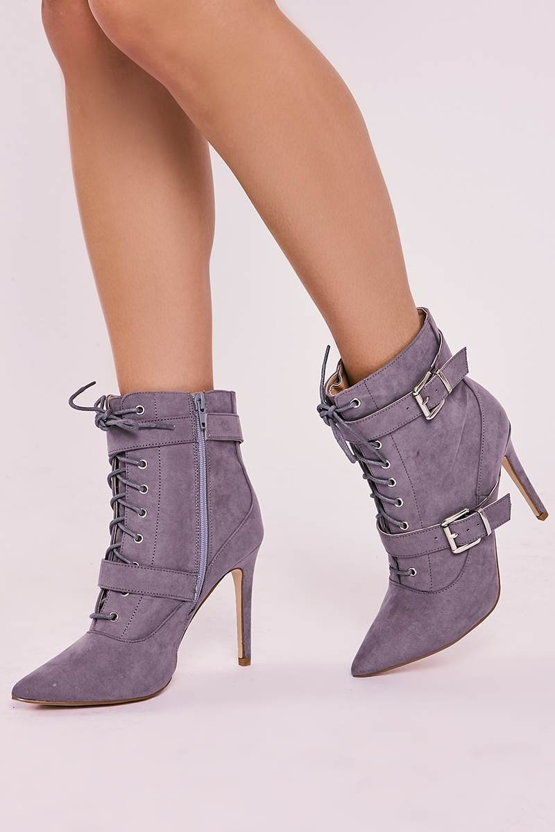 grey faux suede lace up heeled ankle boots