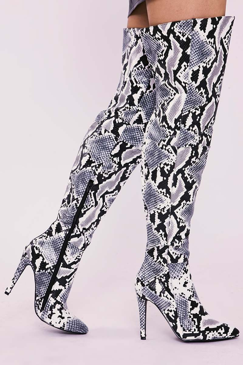 grey snake print over the knee heeled boots