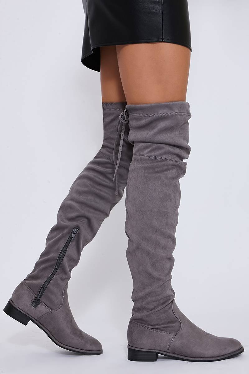 SAF LIGHT GREY STRETCH FAUX SUEDE OVER THE KNEE BOOTS