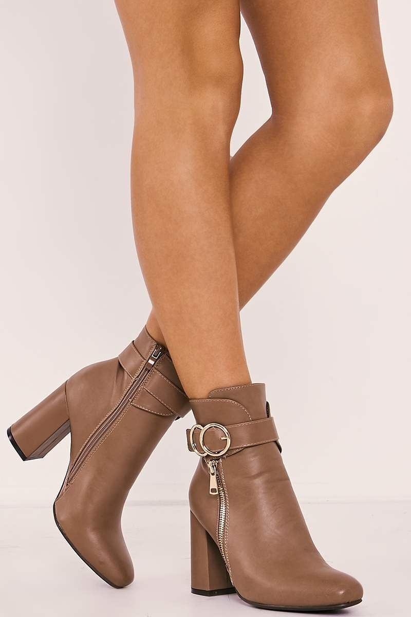 tan faux leather buckle strap heeled ankle boots