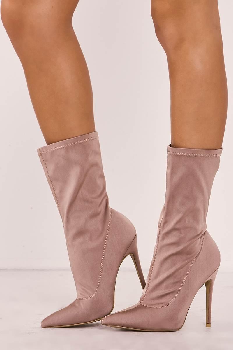 mocha lycra sock heeled boots