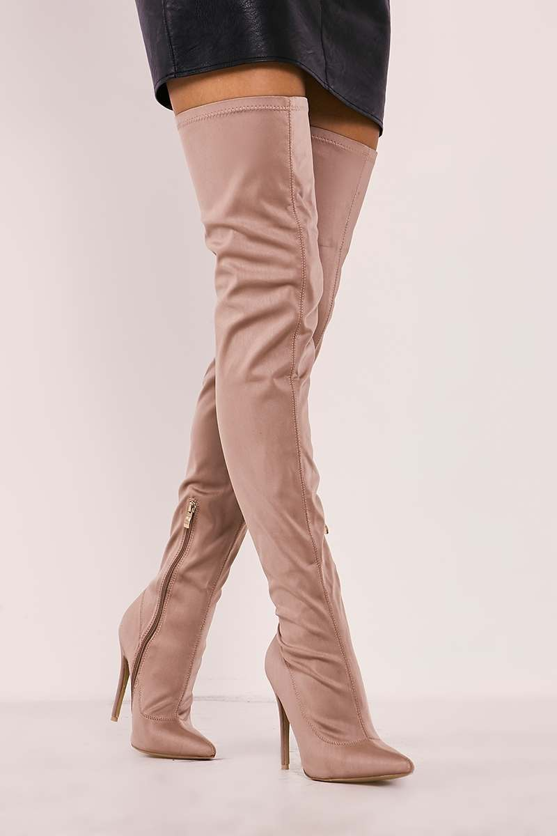 mocha lycra sock over the knee heeled boots