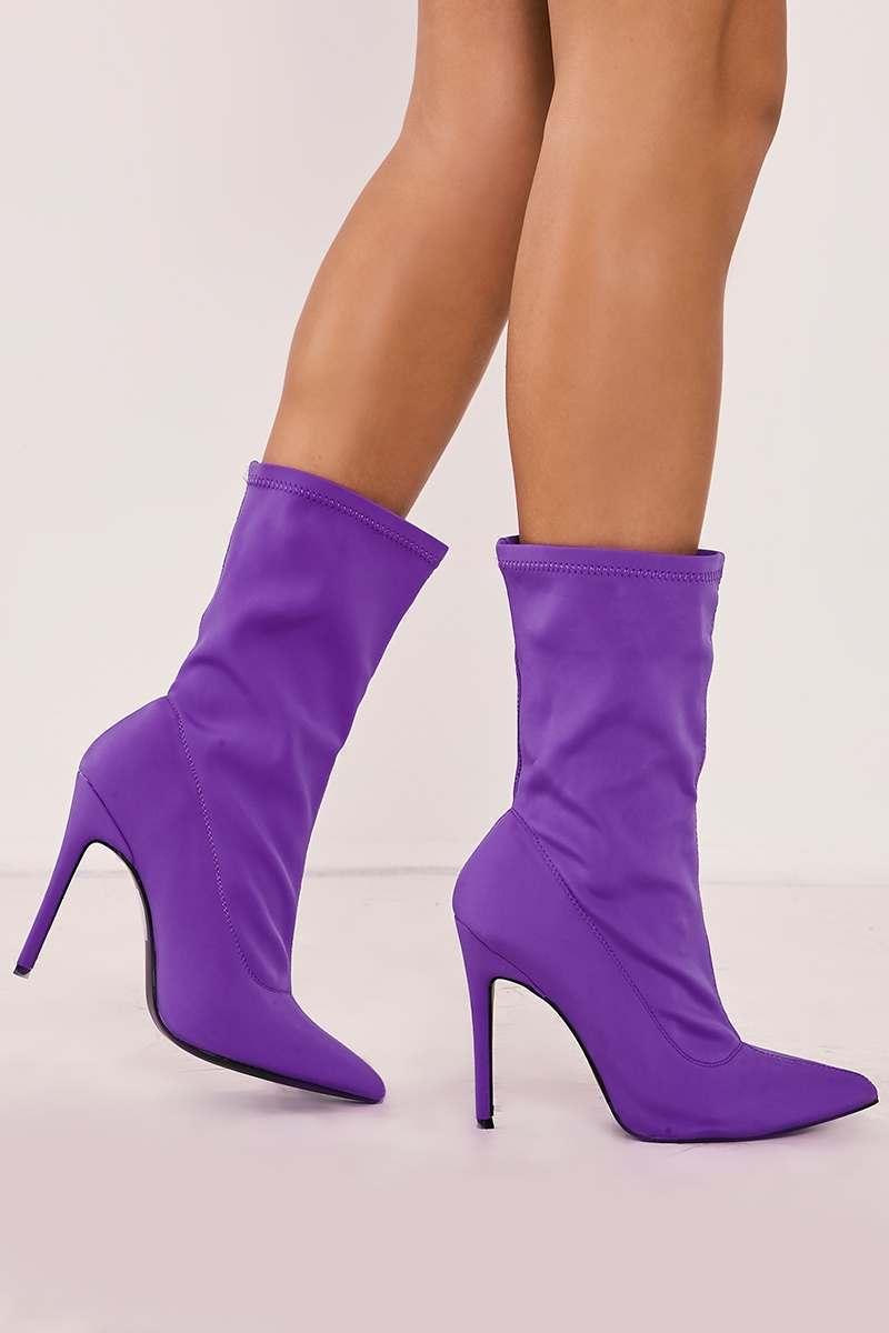 purple lycra sock heeled boots