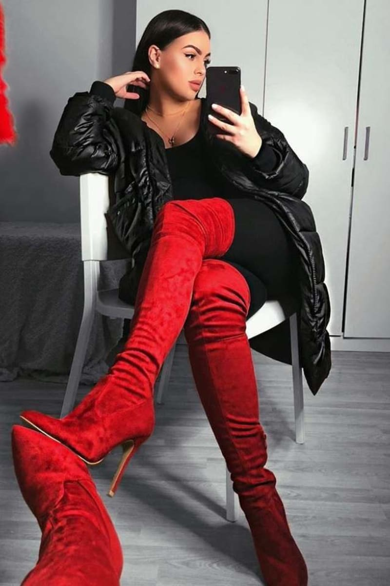 red faux suede over the knee heeled boots