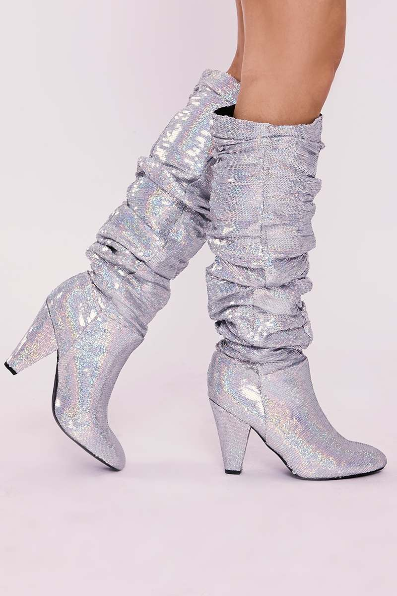 silver sequin knee high slouchy boots