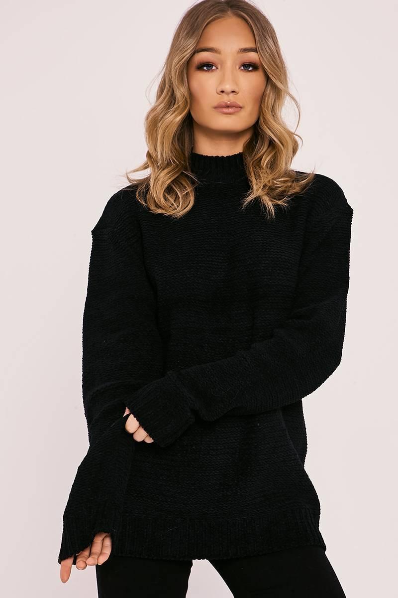 HESSA BLACK CHENILLE LONGLINE JUMPER