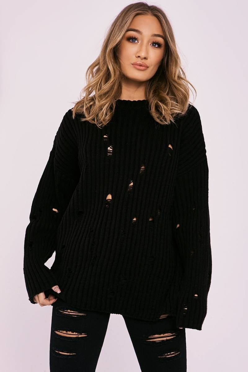 NINA BLACK DISTRESSED OVERSIZED JUMPER