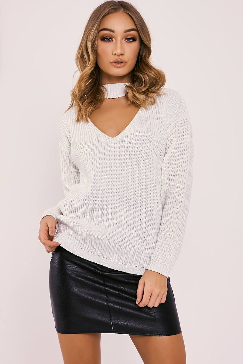 cream lurex choker neck knitted jumper
