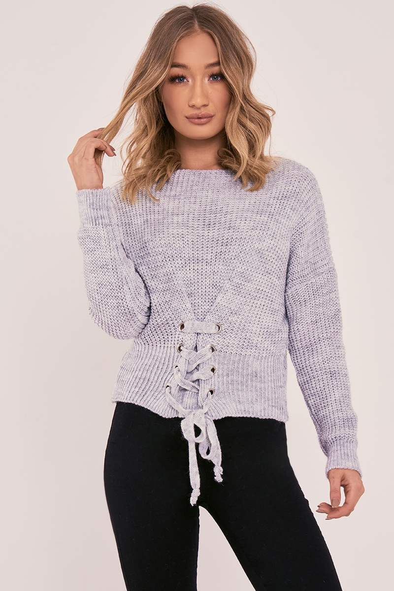 ISABELLIA GREY LACE UP KNITTED JUMPER