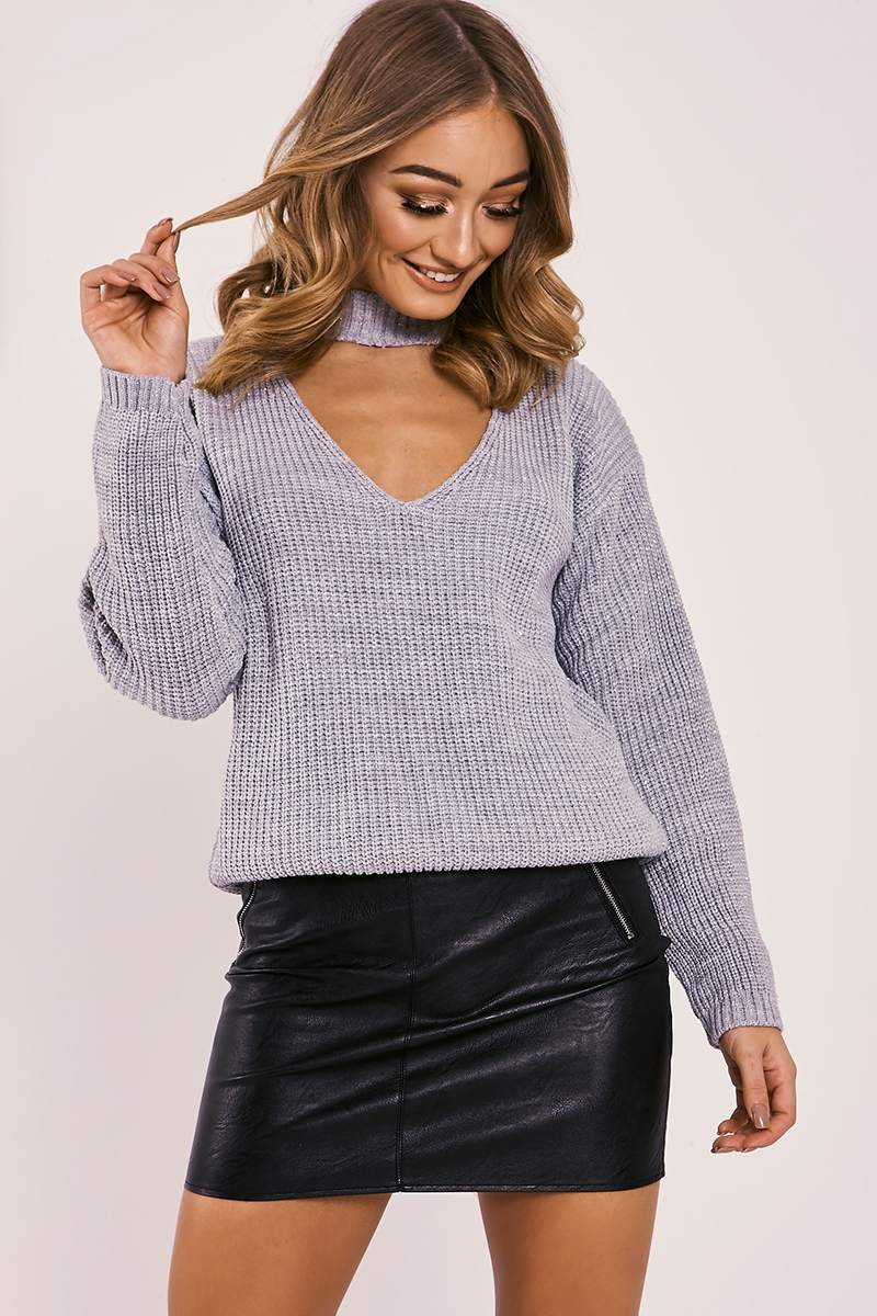 grey lurex choker neck knitted jumper