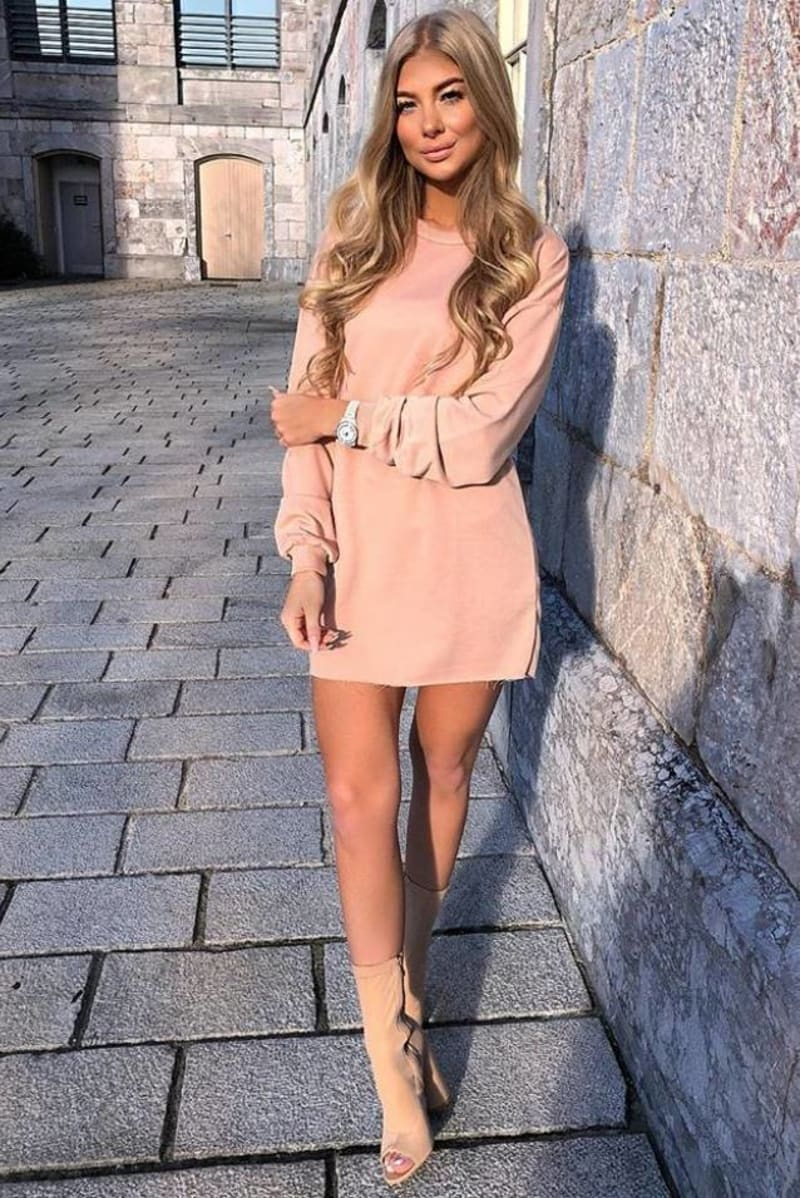 nude oversized sweater dress