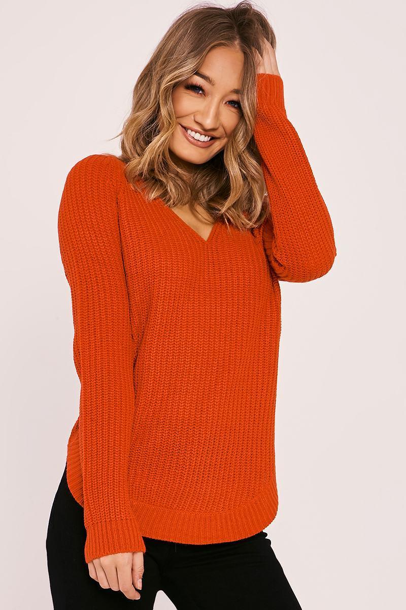 red v neck knitted jumper