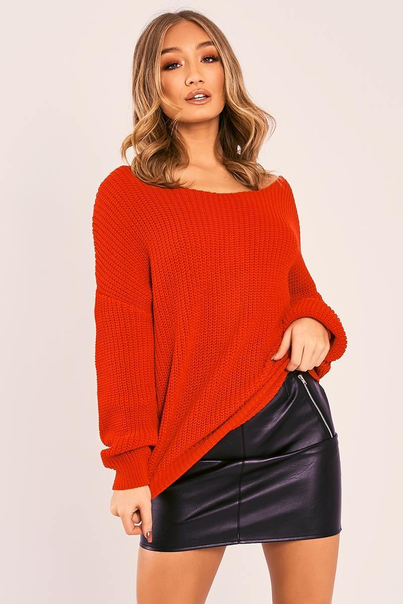 JAZLYNN RED TWIST BACK KNITTED JUMPER