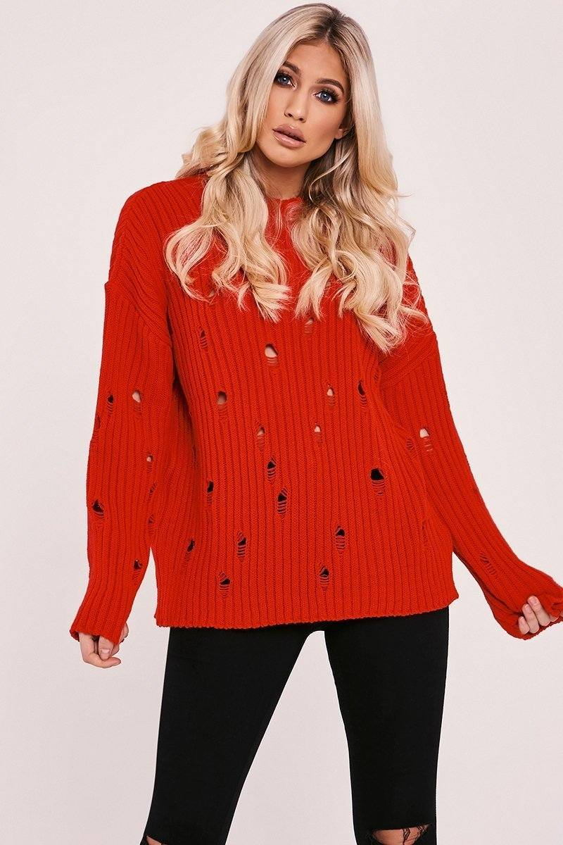NINA RED DISTRESSED OVERSIZED JUMPER