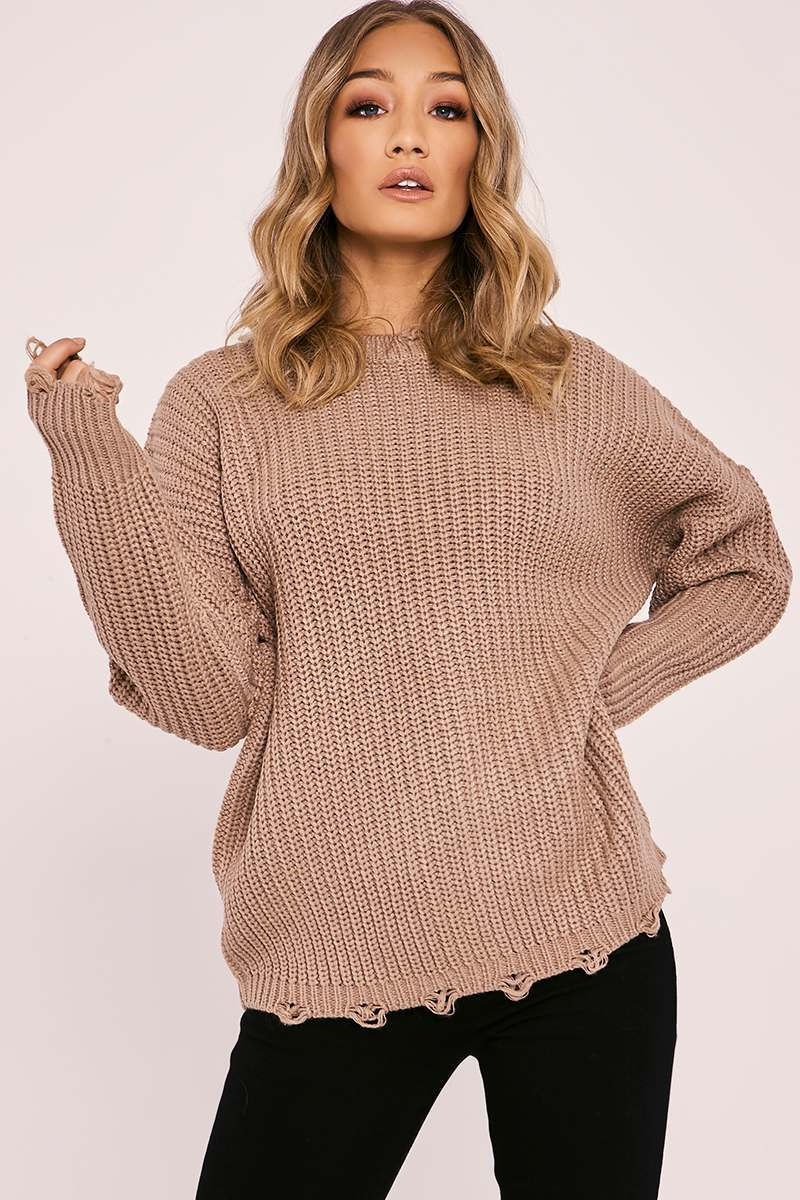 stone distressed oversized knitted jumper
