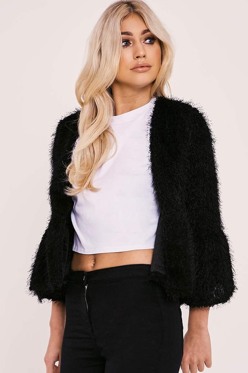 black eyelash knit jacket