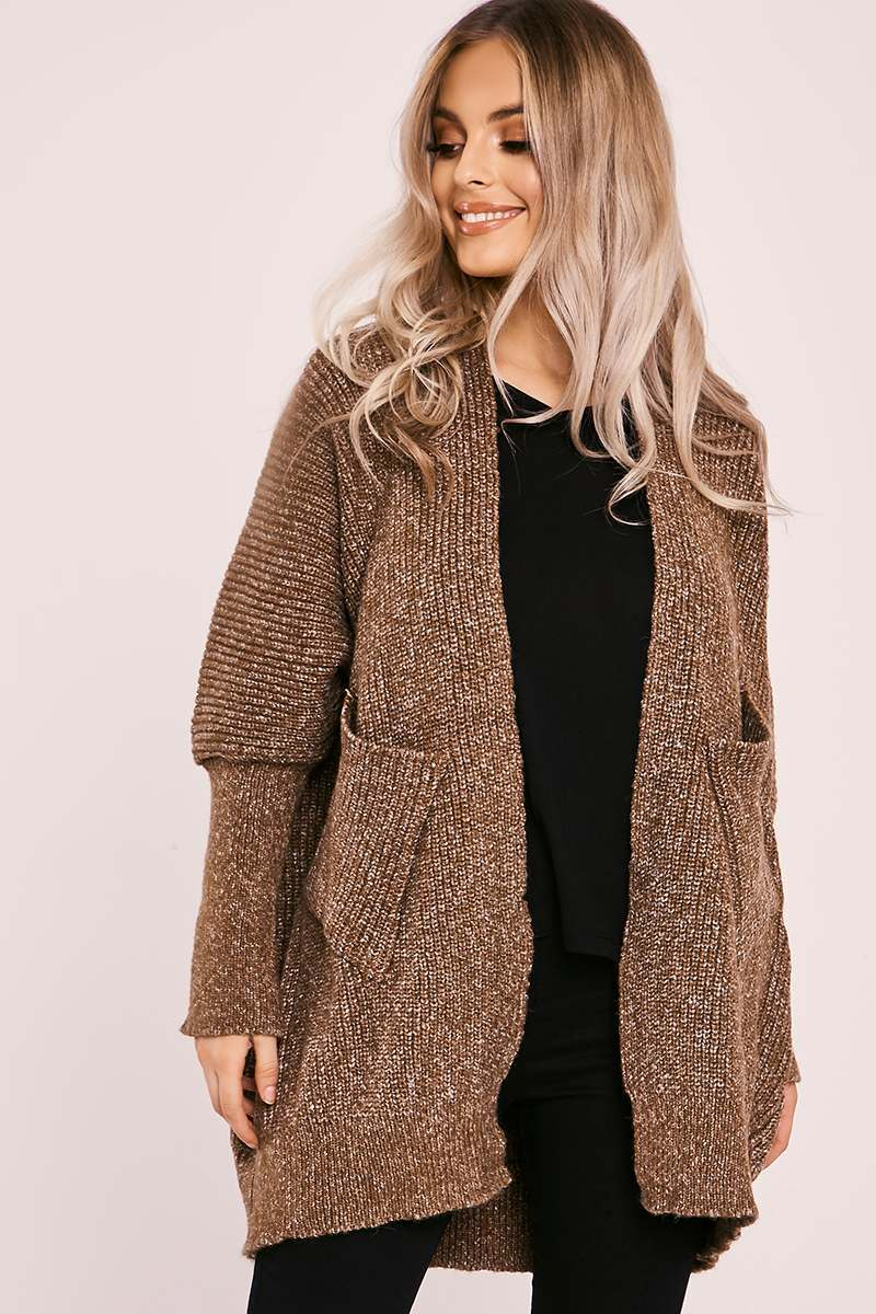 LEKSI BROWN KNITTED CARDIGAN