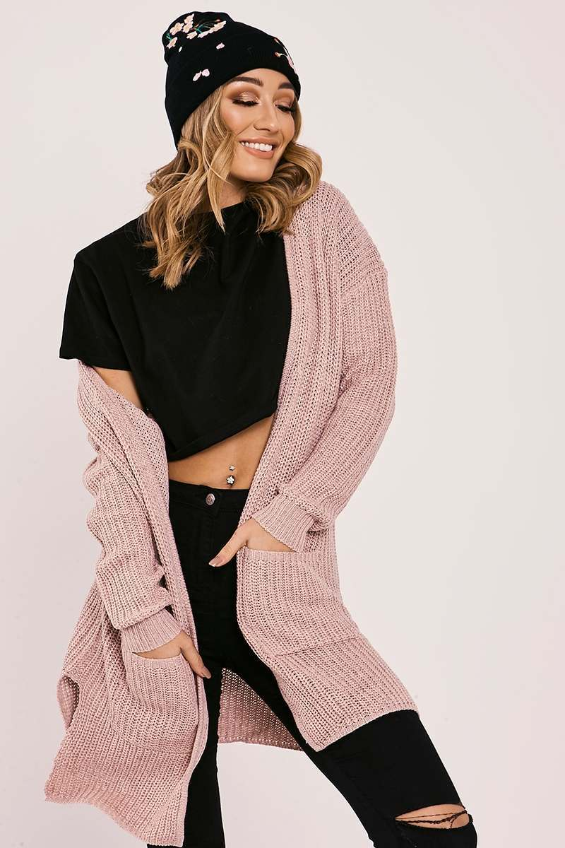 HARLIE PINK KNITTED LONGLINE CARDIGAN