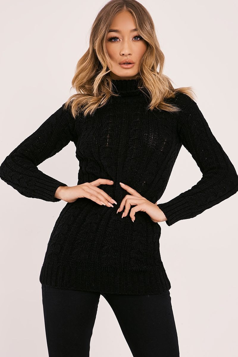 MYLIE BLACK CABLE KNITTED HIGH NECK JUMPER