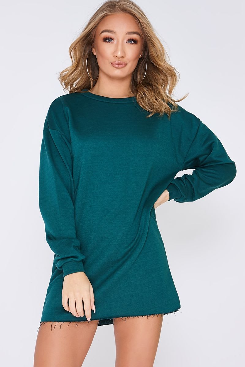 green oversized sweater dress