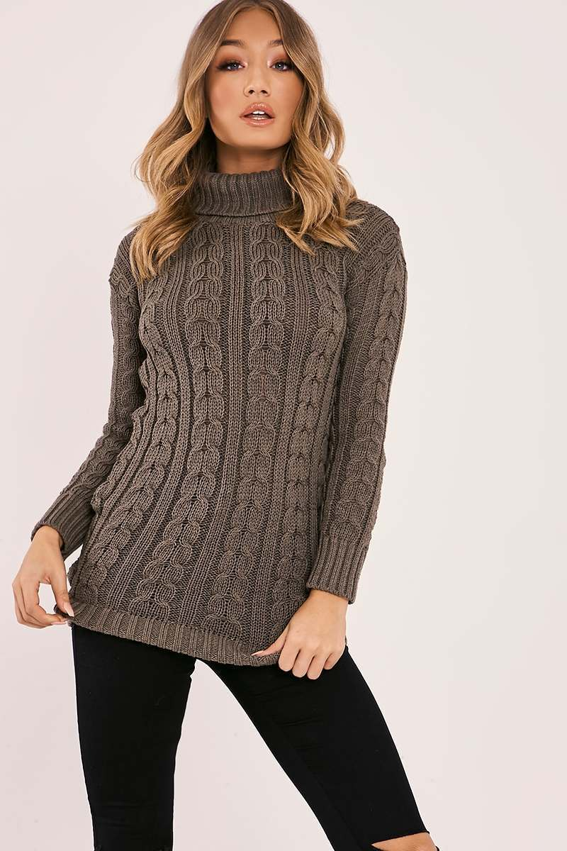 khaki cable knitted high neck jumper