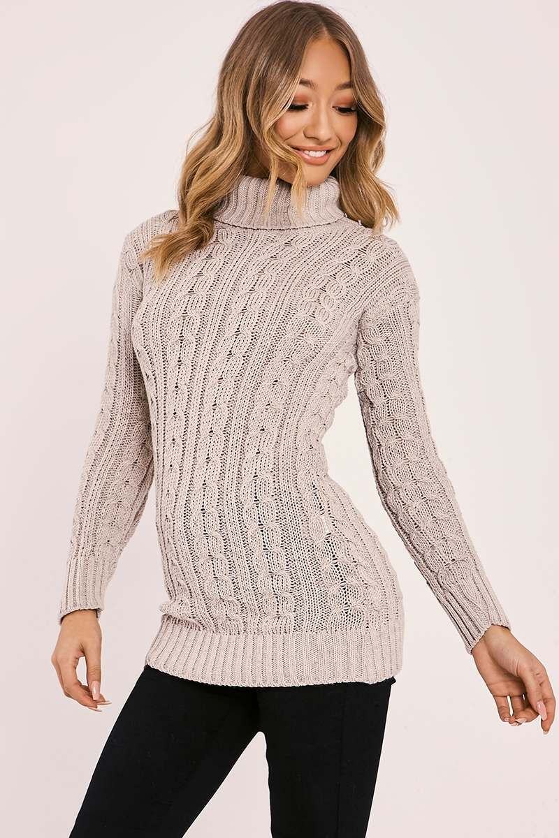 stone cable knitted high neck jumper
