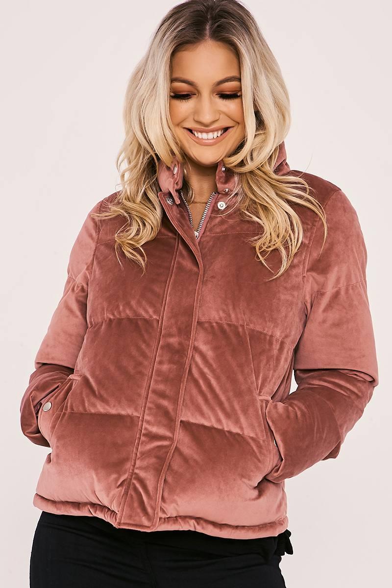 pink velvet padded puffer coat