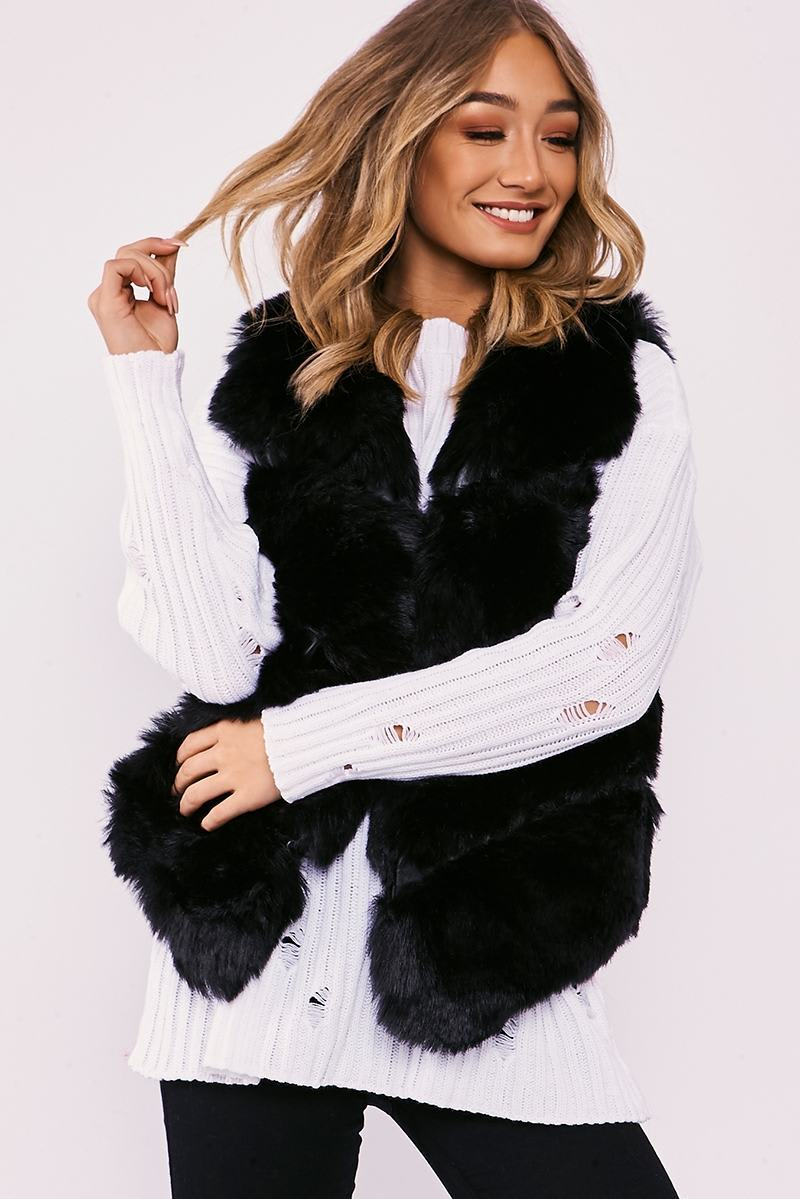 NEYA BLACK FAUX FUR GILET