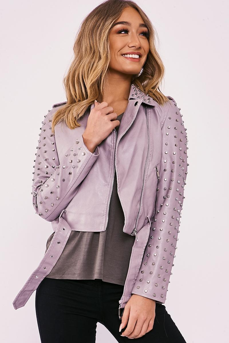 grey faux leather studded biker jacket