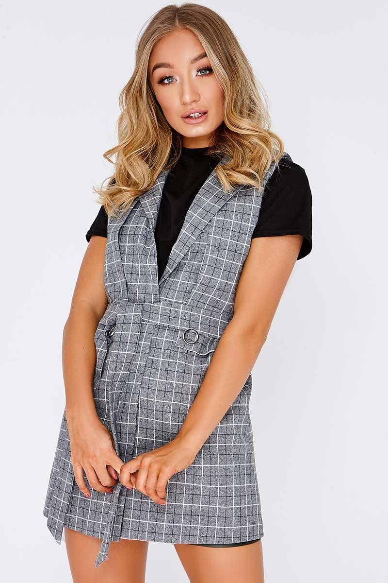 LYONNA GREY CHECKED SLEEVELESS BLAZER